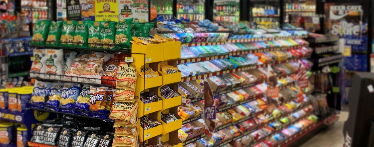 Candy and Snacks at The Store Gas Station and Convenient Store